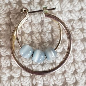 Silver and sky blue tigers eye earrings